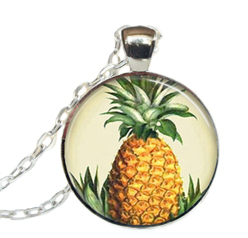 2017 New Round Pineapple Necklace Tropical Island Fruit Pendants Jewelry Art Glass Dome Pendant Necklaces Zinc Alloy Chain(China (Mainland))
