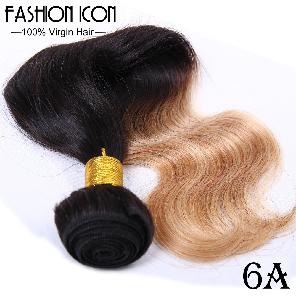 Fashion Icon Hair Body Wave Ombre Hair Extensions 10Pcs/Lot Malaysian Virgin Hair Two Tone Color Free Shipping Body Wave Hair(China (Mainland))
