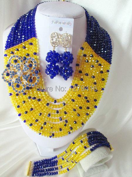 Fashion Nigerian African Wedding Beads Jewelry Set , Crystal Necklace Bracelet Earrings Set C0792<br><br>Aliexpress