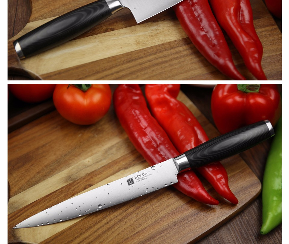 Buy XINZUO 5 pcs kitchen knife set paring utility cleaver Chef knife 3 layers 440C clad steel Kitchen Knife sharp free shipping cheap