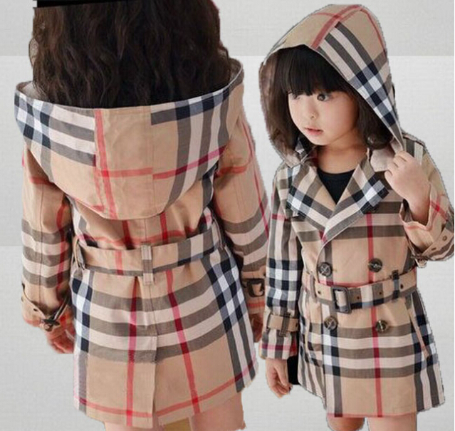 Retail Fashion 2015 Baby Girls Classic Plaid Coats Hoodie Jackets Brand Childrens Outerwear Outfits Girls Hoodies Kids Trench(China (Mainland))