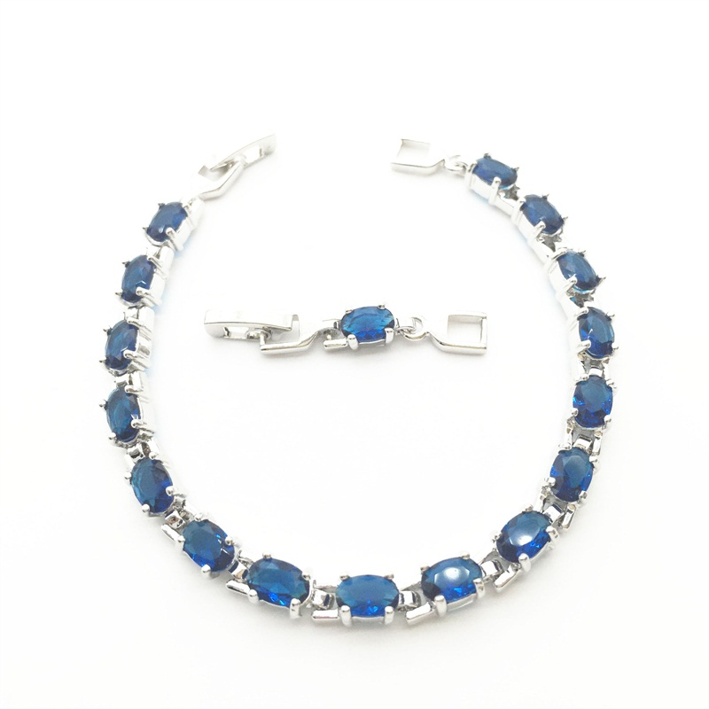 Aliexpress Lowest price Brand New design AAA Zirconia Light Montana Blue crystal Bracelets for women dinner Fashion Jewelry(China (Mainland))
