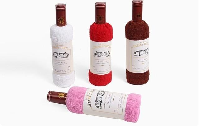 Min.order is $5 W-0086 gift box set gift towel cake towel wine single bottle red wine