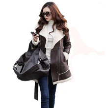 Winter Warm Coats For Women Long Sections Thick Suede Stitching Woolen Coat Female Fashion Popular Cozy Wild Outerwear S700(China (Mainland))