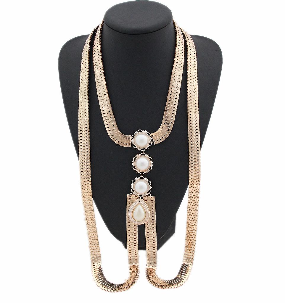 Women Sexy Chunky Gold Plated Snake Body Chain Choker Big faux Pearl Pendant Necklace Fashion Bikini Harness Beach Jewelry,D75(China (Mainland))