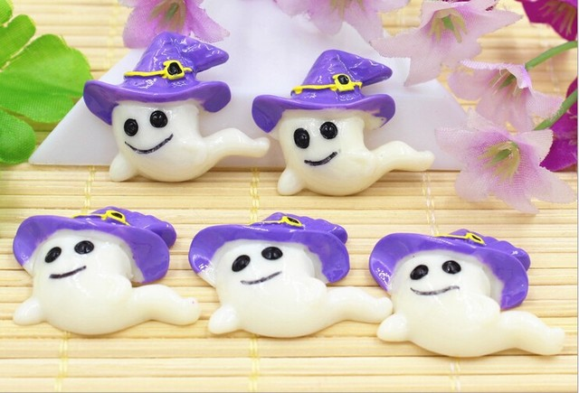 30pcs Really CUTE! Purple Girly Ghost Flat Back Resin Cabochons for Hair Bow Center/Phone Case Decoration, Halloween Cabochons