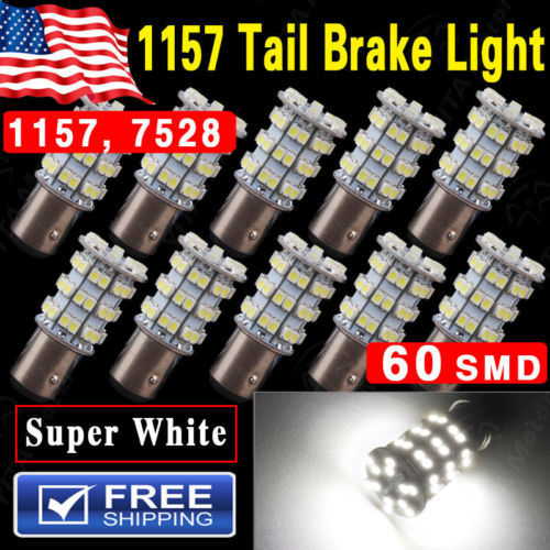Hot Selling Car led Lights 10Pcs 12V 6000K Pure White 1157 BAY15D 60-SMD led Tail Brake Stop Car LED Light Bulbs 2057 7528 2357(China (Mainland))