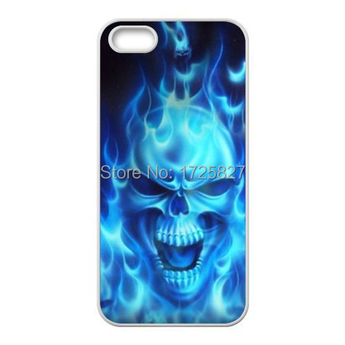 Cool Blue Flaming Fire Skull Skelton Cover Case for Iphone ...