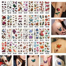 Styles 3D Glitter Metal Temporary Flash Tattoos Flowers Waterproof Body Art Sleeve DIY Stickers Halloween Fake Inspired 190*90MM