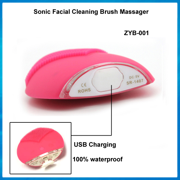 Portable Ultrasonic Facial Cleaner Silicone Electric Face Cleansing Brush Sonic Massage Skin Care Spa Beauty Cleaning Device(China (Mainland))