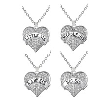Buy shape Drop Big Sis Middle Sis Little Sis Baby Sis Crystal Heart Pendant Necklace Sisters Jewelry Gift Boho Style for $7.28 in AliExpress store