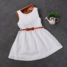 2-8 Years New Summer Lace Vest Girls Dress Baby Girl Princess Dress  Chlidren Clothes Kids Party Clothing For Girls Free Belt