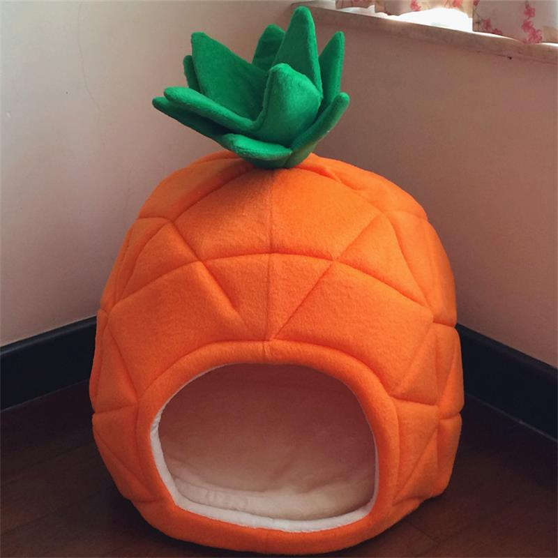 Creative Pineapple Dog House S And L Cotton Dog Bed Small Pet Cat Bed Teddy Dog Yurt Hand Wash/Machine Wash Foldable Dog Beds(China (Mainland))