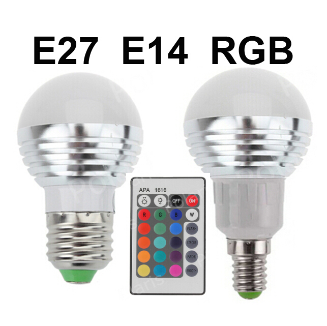 RGB LED Lamps AC85-265V 3W E27 E14 Led 16 Colors Bulbs Changeable Lamp multiple colour IR Remote Control Led Lighting(China (Mainland))