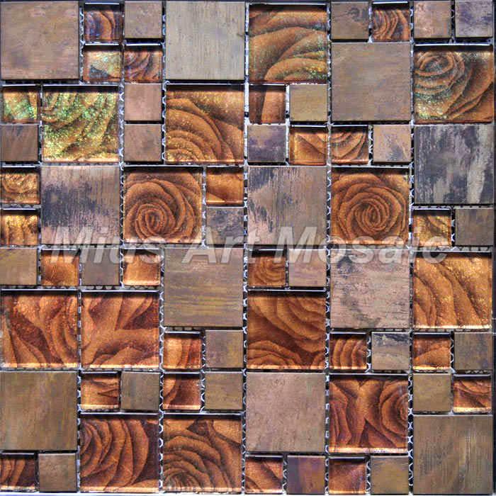 Copper subway tile backsplash