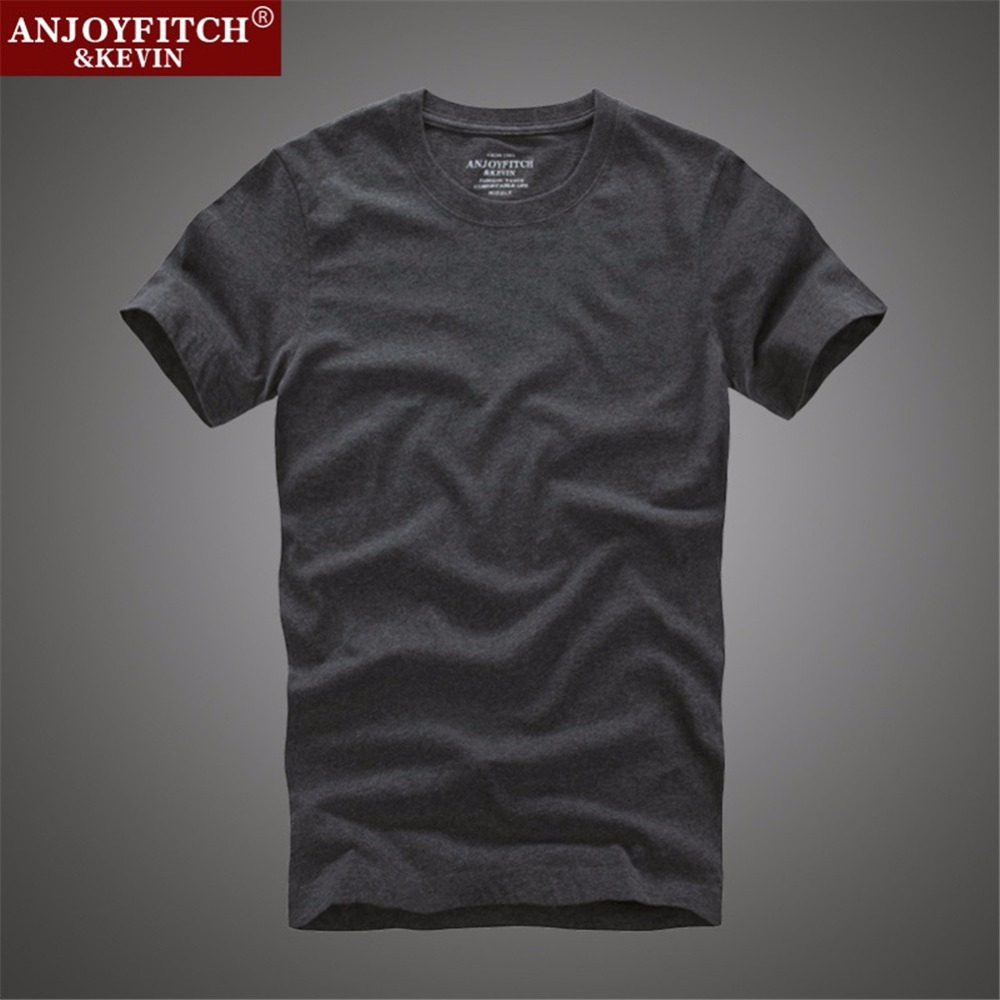 Anjoyfitch&kevin af t-shirt 100% cotton solid O-Neck short sleeve(China (Mainland))
