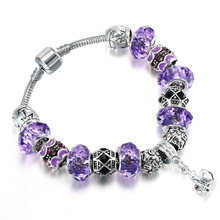 2016 Silver Carter Link bracelet Multi Beads Rhinestone Purple stainless Steel Chain Bangle For Women European Pendant Jewelry(China (Mainland))