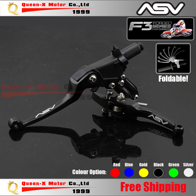 Free Shipping Aluminum CNC ASV F3 2ND Folding Clutch And Brake Lever For Dirt Bike/Pit Bike Modify parts Spare Parts(China (Mainland))