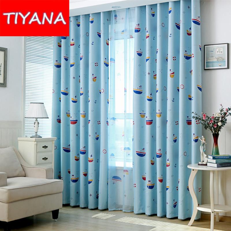 Bleu motifs rideaux promotion achetez des bleu motifs - Rideau chambre garcon bleu ...