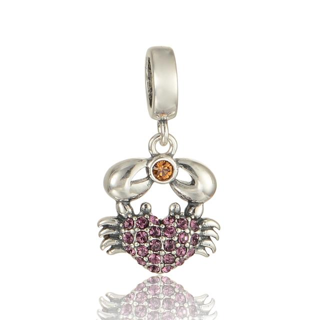 925 - серебристо-ювелирные бусины симпатичные краб вымощает CZ шарм бусины Fit пандора неповторимое очарование браслеты серебро 925 DIY S309