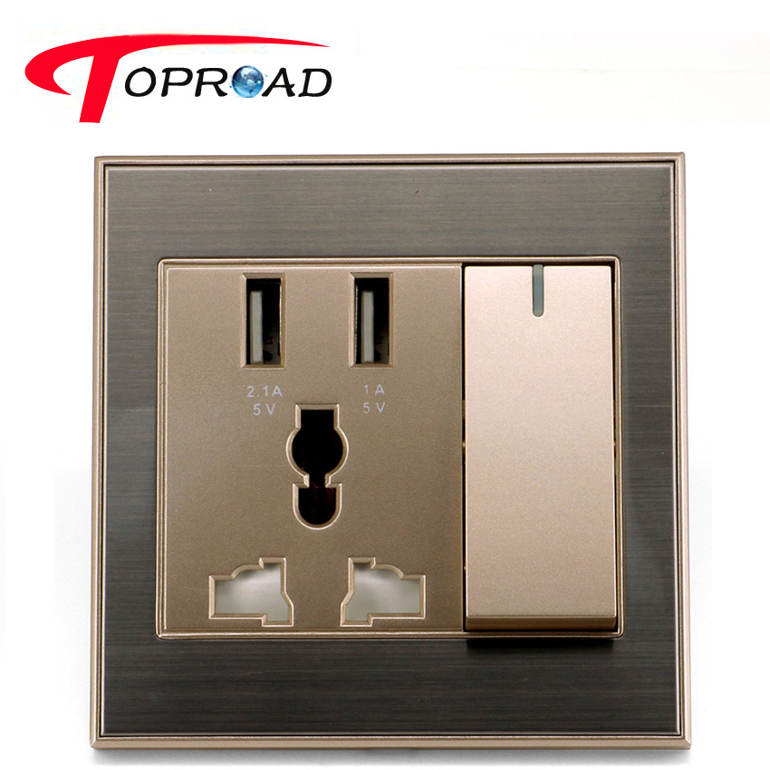 50pcs/lot Universal Smart Wall Socket AC Power Switch Outlet Dual USB Ports 2.1A Charger Adapter Charging Station Plate Panel(China (Mainland))