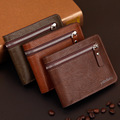 Carteira Masculina Brand Men Wallets Genuine Leather With PU Fashion Men Purses 3 Fold Zipper Male