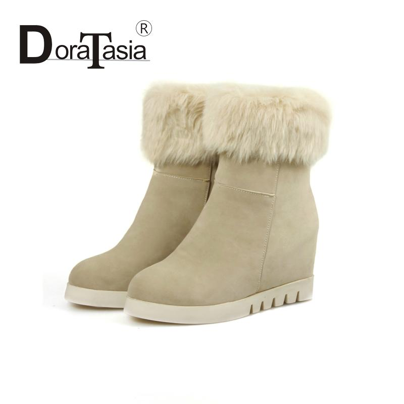 High Quality Women Ankle Boots With Fur Winter now Boots Concise Style Shoes For Lady Solid Round Toe Platform Wedges High Heels(China (Mainland))