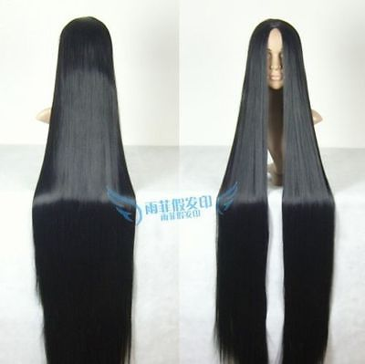 Cosplay Wig 150cm long Straight Hair wig Black wig Costume Stage Television Free shipping(China (Mainland))
