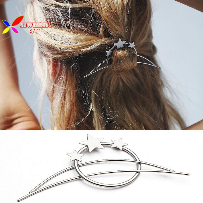 2015 christmas gifts new fashion gold silver plated hair clasp jewelry hair sticks for women accessories varas de cabelo(China (Mainland))