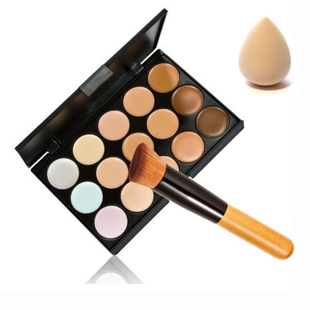 15 Color Contour Face Makeup Concealer Palette Sponge Puff Powder Brush Set 2015 Hot Selling NO 1