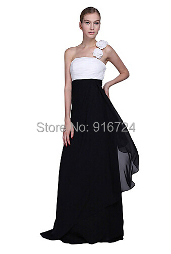 unique black chiffon shoulder floor length bridesmaid dress