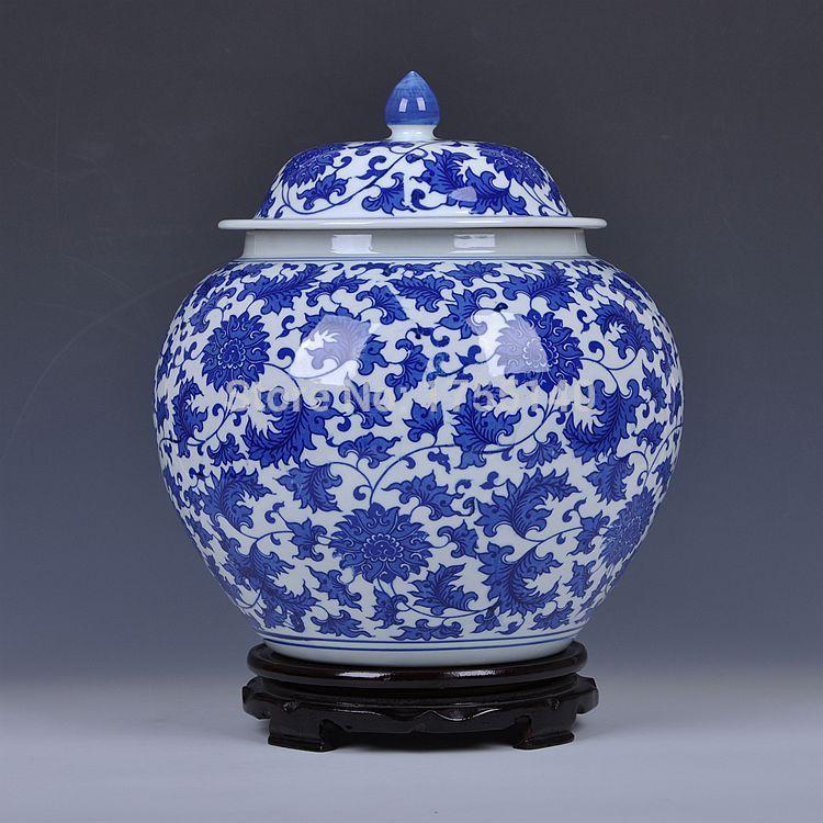 Jingdezhen ceramic blue and white porcelain jar/ Lotus Scroll large tank storage tank/ generals pickles porcelain altar(China (Mainland))