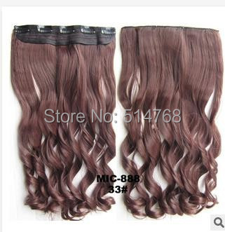 Free Shipping New Arrival Color Brown Women's Clip In Hair Extensions synthetic hair 5 clips full head clip in hair extension(China (Mainland))
