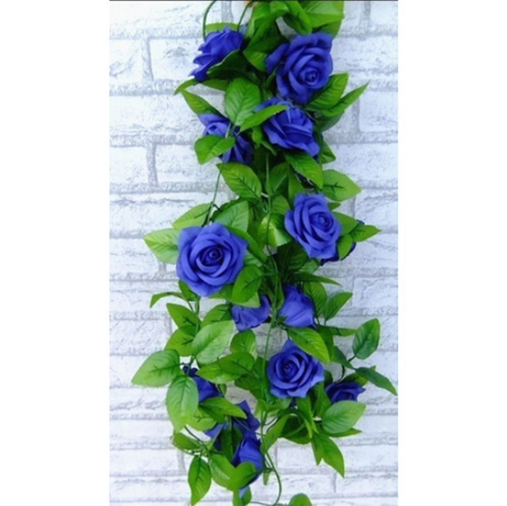 Artificial Rose Silk Flower Green Leaf Vine Garland Home Wall Party Decor Wedding Decal(Royal blues) - Alpha Accessories is Guaranteed store
