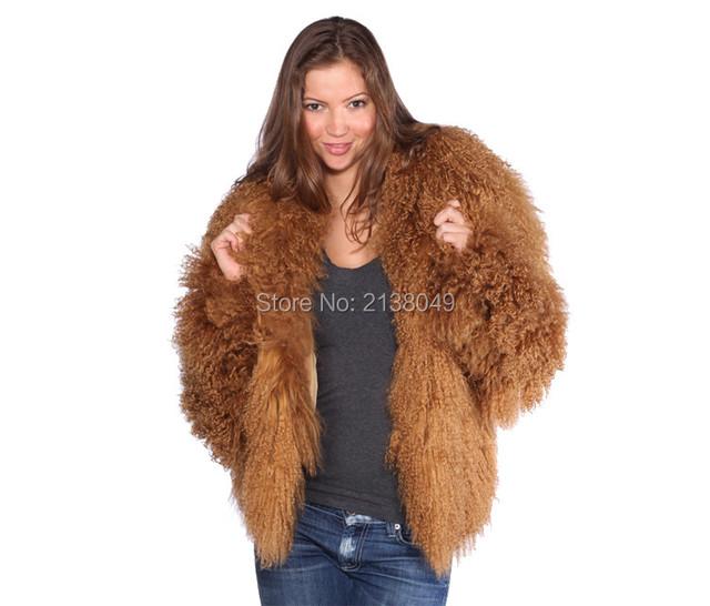 FC049 Толстый теплый мех зимние пальто настоящее Монгольский шерсти овечки куртки