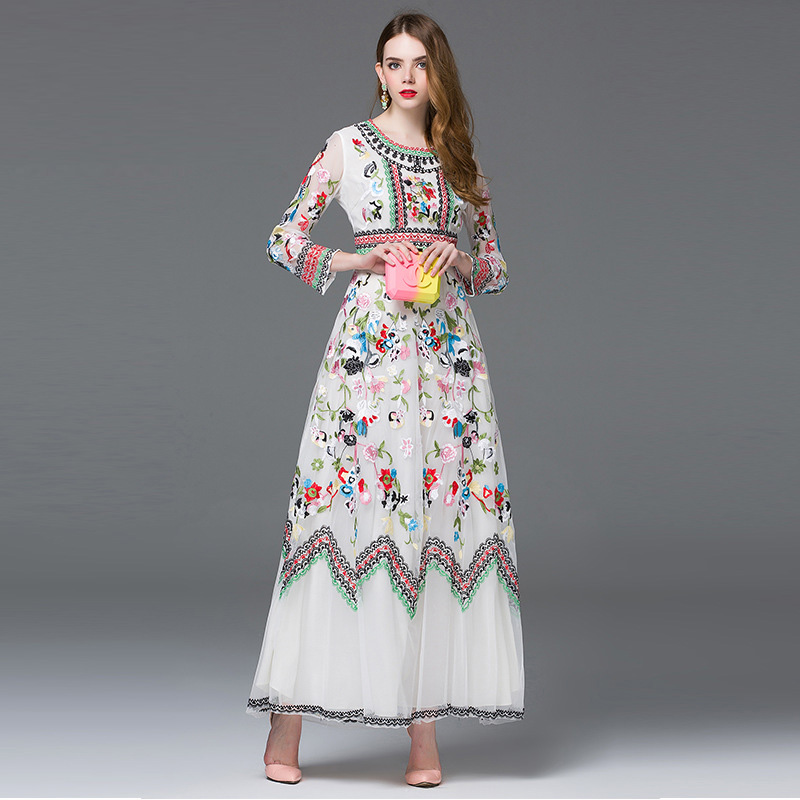 brand desinger 2016 Runway Maxi Dresses Women summer dress elegant long sleeve mesh Embroidery floral Long Dress party dresses(China (Mainland))