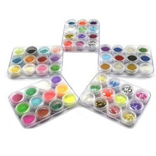 USA Delivery New 60 Box Color 5 Style Crushed Shell Acrylic Nail Art Glitter Powder Tip Decoration (China (Mainland))
