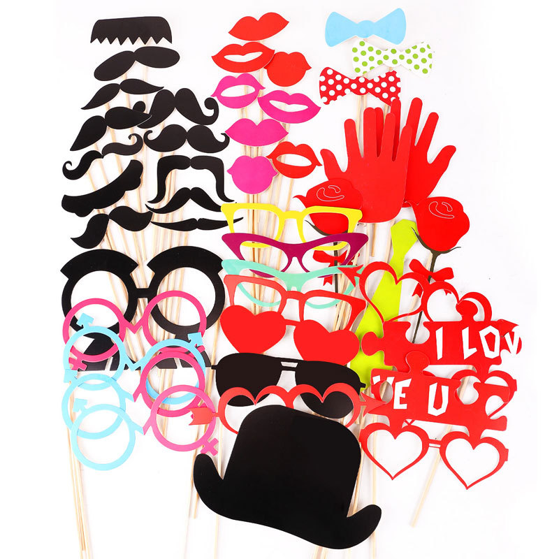 44 Photo Booth Props Moustache Lips on A Stick Wedding Valentine Birthday Party Masks(China (Mainland))