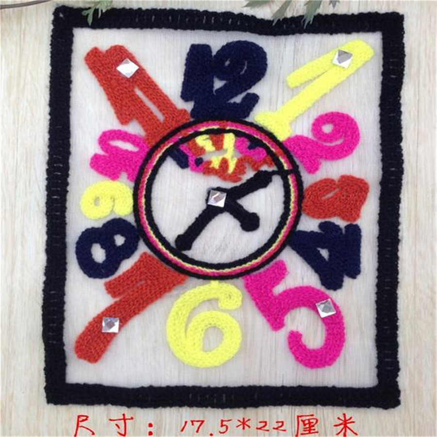 Clothes patch Apparel Sewing & Fabric fashion clock color logo, women patches for clothing home DIY free shipping(China (Mainland))