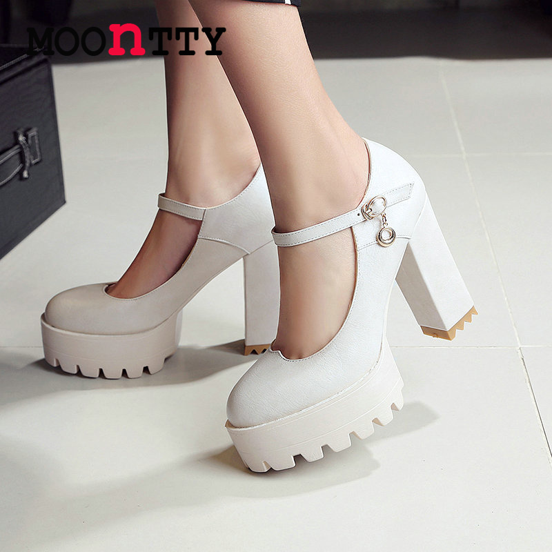 MOONTTY Mary Janes Buckle Strap Platform Round Toe Women Pumps Square High Heels Autumn/Spring Girl Party Shoes Size 34-42 White