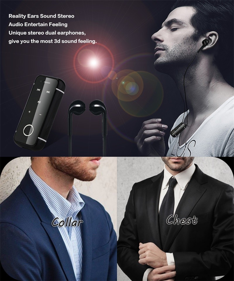 Portable Earphones Mini Clip On Stereo Headset Wireless Bluetooth Earphone With Mic Hand-free Audio Receiver Adapter 3.5mm