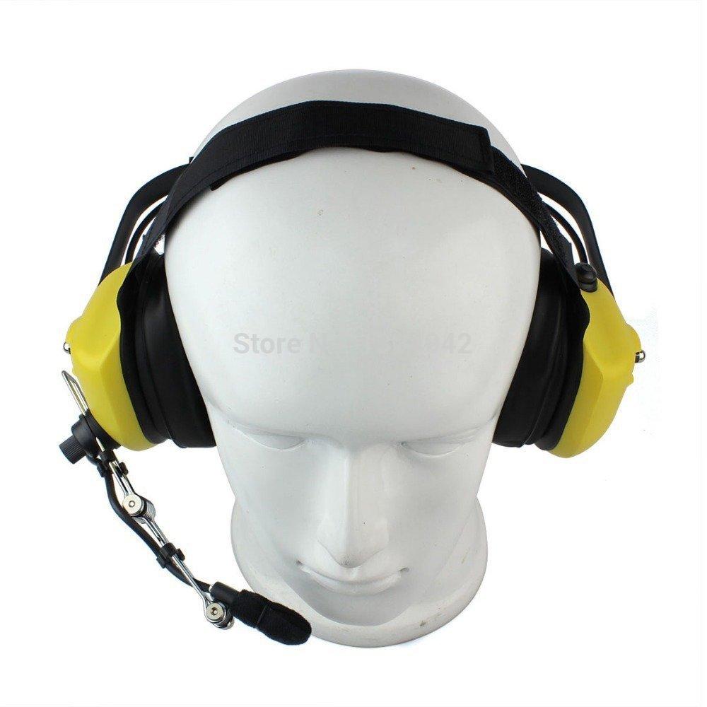 Yellow Military Noise Cancelling Overhead Headset Earpiece Boom Microphone with PTT 2-pin for Icom Maxon Yaesu Vertex Radio(China (Mainland))