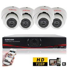 SUNCHAN CCTV Security 720P 1Megapixel 4CH AHD DVR Day Night IR Camera System High Definition Video Surveillance DIY Kit