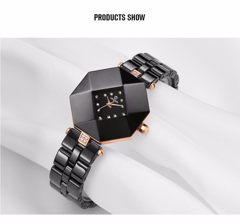 VINOCE женщин diamond часы керамические часы повседневная мода luxury brand золото кварцевый механизм водонепроницаемый Relogio Отель v3228l