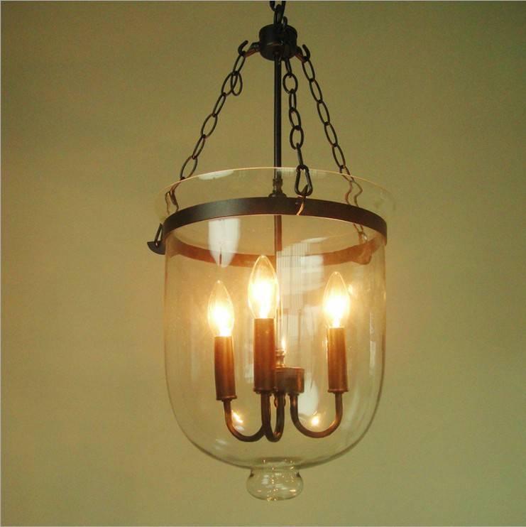 American village country round glass chandelier creative personality living room lights restaurant vintage candle bucket lamp(China (Mainland))