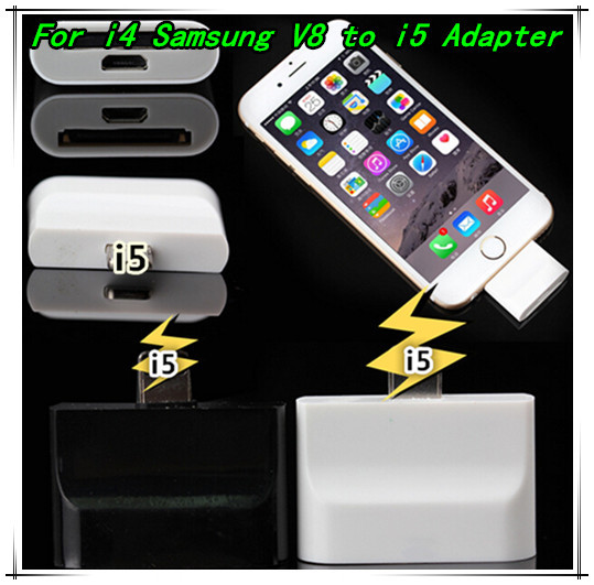 30 Pin to 8 Pin Data port Adapter Converter for iPhone 4 S to iPhone 5 5S 5C iPod Touch /For Samsung V8 to iPhone5 5s adapter