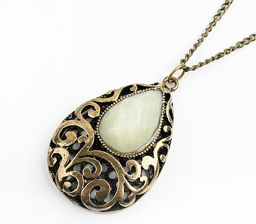 Bohemian Style Fashion Vintage Antique Bronze Women Sweater Chain Hollow Water Drop Pendant White Semi-precious Stone Necklaces(China (Mainland))