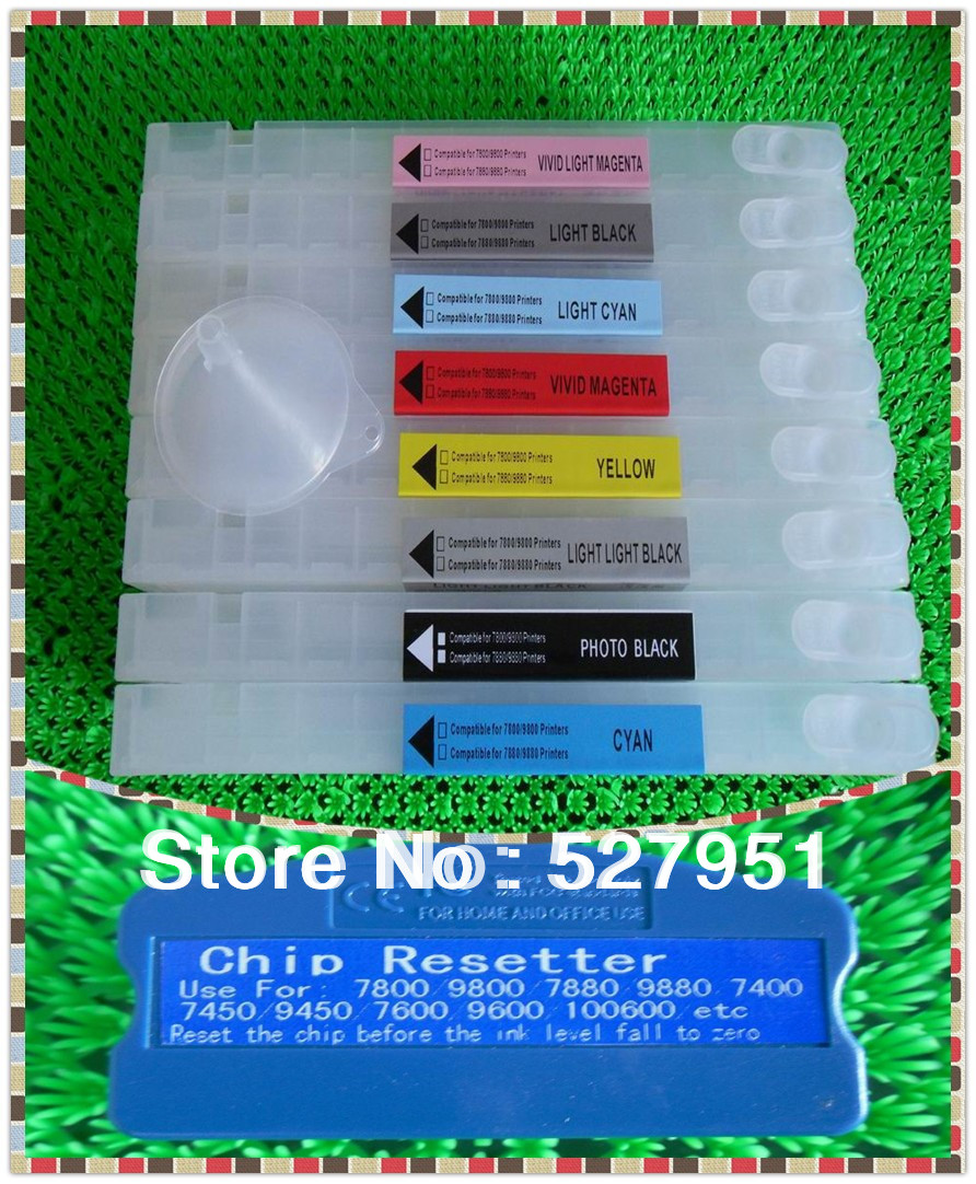 350ml 8 colors for epson 7880/9880 refillable ink cartridge+ chip resetter(for free)(China (Mainland))