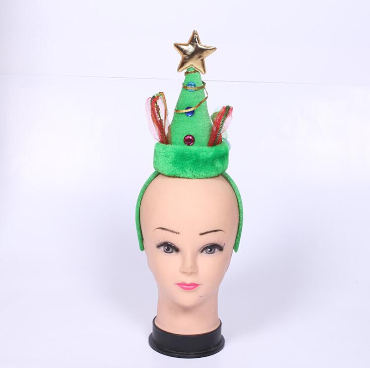 Supply of 2016 new lovely green horn, hair band Christmas cartoon Santa hats(China (Mainland))