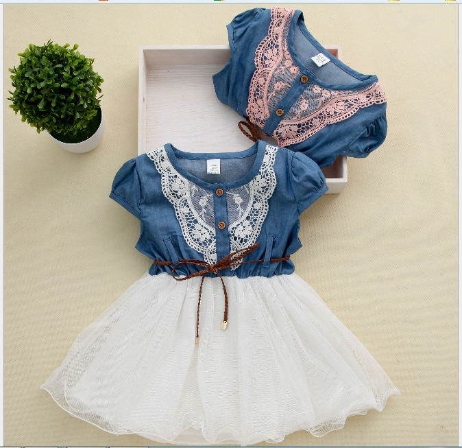 Hot selling baby clothes girl clothes denim short sleeved summer dress clothes denim jeans stitching gauze